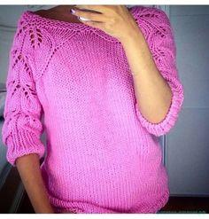 Описание вязания женской кофточки с ажурными рукавами и спиной Для увеличения нажмите на картинку