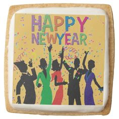 Happy New Year Confetti Party Cookies Square Premium Shortbread Cookie Chocolate Covered Oreos, Party Items, New Years Party, Favor Boxes, Family Holiday, Holiday Parties, Confetti, Happy New Year, Colorful Backgrounds