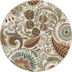 Charlton Home Quam Floral Ivory/Mocha/Wine Red Area Rug Rug Size: Round Floral Area Rugs, Floral Rug, Floral Motif, Transitional Area Rugs, Transitional Style, Polypropylene Rugs, Round Area Rugs, Throw Rugs, Colorful Rugs