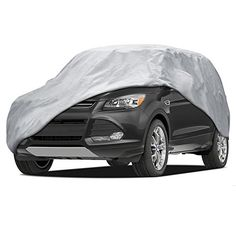 "BDK SUV VAN Cover - Universal Fit, Non Woven, Grey W/ Secure Lock (Fits up to 185""). For product info go to:  https://www.caraccessoriesonlinemarket.com/bdk-suv-van-cover-universal-fit-non-woven-grey-w-secure-lock-fits-up-to-185/"