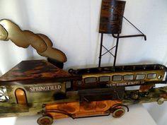 Mid Century Modern  Brass & Copper Train RR  Springfield - N Y Express Sculpture #Unbranded