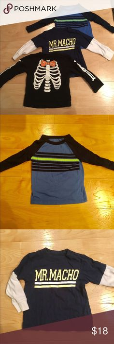 "Toddler boys long sleeve shirt bundle,2T Includes: -Circo brand blue, navy & neon green stripe top, 2T -Carter's brand navy, faux layer, ""MrMacho"", 2T -black skeleton top for Halloween, 24m  All great condition! Shirts & Tops Tees - Long Sleeve"