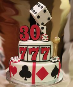 Casino cake, fondant casino 7,30 year birthday cake, man birthday cake, fondant dice, casino chips