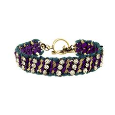 Crystal Studded Ribbon Chain Bracelet -- I need more purple in my life!