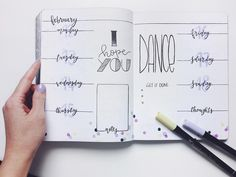 Bullet journal weekly layout, confetti drawing, overlapping headers, cursive headers. | @get.it.planned