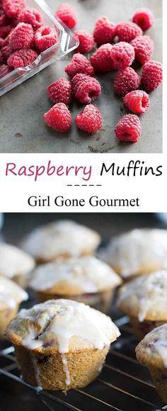 Raspberry muffins with streusel and a lemon glaze | girlgonegourmet.com