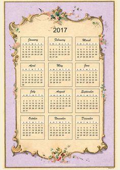 Free printable 2017 vintage design calendar - ausdruckbarer Kalender- freebie | MeinLilaPark