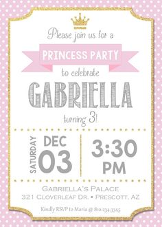 Pink princess birthday invitation - personalized for your party - digital / printable DIY girls birt Pink Princess Party, Princess Birthday Invitations, Unicorn Birthday Parties, Girl Birthday, 1st Birthday Invitation Template, Baby Shower Photo Booth, Presents For Girls, Diy For Girls, Princesa Disney