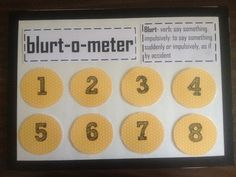 First, collect data!! My kids had 39 blurt outs in one hour! Wow! Then, come up with a reasonable goal and reward. Let the students give ideas for rewards. It will also help if you have a behavior replacement. I used Velcro on the back on the numbers. Whenever a student blurts, I will take the number off starting at 8. If they stay within the 1-8 number range, then they will receive a link on a paper chain. Once the chain touches the floor we're going to have a big shindig! Depending on…