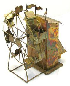 MUSICAL FERRIS WHEEL vintage wind-up Copper? metal art music box LARA'S THEME