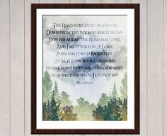 Hey, I found this really awesome Etsy listing at https://www.etsy.com/listing/153321880/the-road-goes-ever-on-and-on-tolkien