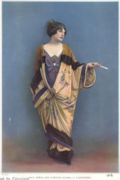 1912, Ball dress & evening cloak by Laferriere