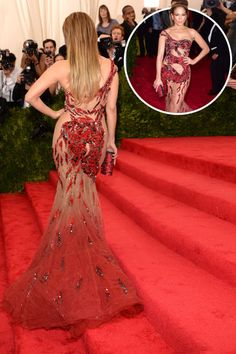 The best red carpet dresses from the back: Jennifer Lopez in Atelier Versace at the 2015 Met Gala.