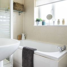 Neutral tiled bathroom with natural textures | Bathroom decorating | Ideal Home | Housetohome.co.uk