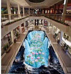 37.80$  Watch here - http://ali94u.shopchina.info/go.php?t=32684075432 - 3D stereoscopic wallpaper floor waterfall louts Custom Photo self-adhesive 3D floor PVC waterproof floor  #SHOPPING