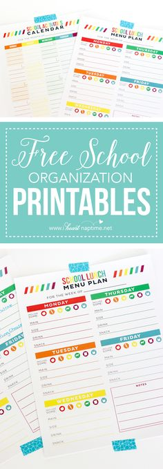 FREE School Organization Printables… print out these free planners to help you stay organized this school year! We have a free school lunch menu planner and a month-at-a-glance activities planner! School Organization For Teens, Teacher Organization, Organization Hacks, School Lunch Menu, School Fun, Law School, Sunday School, School Ideas, Notebook School
