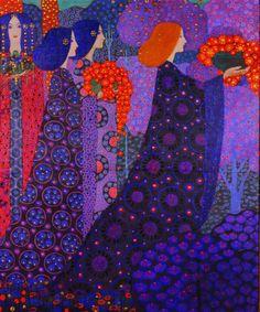 Vittorio Zecchin ~ Procession of Princesses, Italian Art Nouveau Art Nouveau, Art Deco, Illustrator, Art Textile, Italian Painters, Gustav Klimt, Italian Art, Whimsical Art, Art Plastique