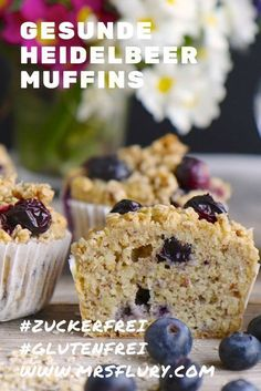 Healthy blueberry muffins without sugar - Ms. Flury - eat and live healthy - Healthy blueberry muffins without sugar – Ms. Flury – eat and live healthy, Berry muffins - Healthy Party Snacks, Healthy Snacks For Diabetics, Easy Snacks, Healthy Desserts, Eat Healthy, Healthy Recipes, Healthy Blueberry Muffins, Blue Berry Muffins, Blueberry Oatmeal