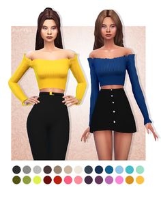 Cute off shoulder, frill top by Marigold recolored in @simsrocuted Lisa's Colors • BGC • 27 swatches • Mesh needed -> download here DOWNLOAD (no ad.fly)
