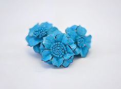 Leather Flower Ring - Turquoise