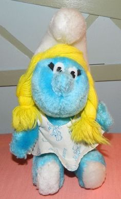 Vintage Rare 1981 PEYO Smurfette Smurf Plush Wallace Berrie Stuffed Print Dress #WallaceBerrie