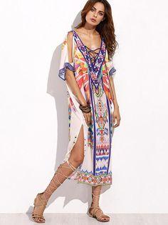 V-neckline Short Sleeves Maxi Print Bohemia Dress