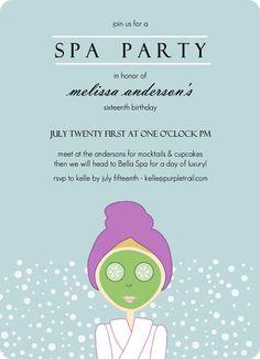 Aqua Spa Girl Birthday Party Invitation by PurpleTrail.com