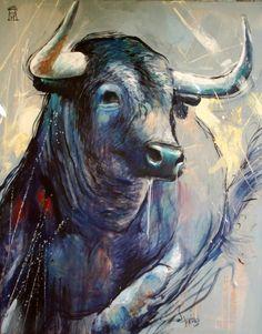 20 4 / AMERICO HUME / Obra de arte: bull blue Artistas y arte. Artistas de la tierra