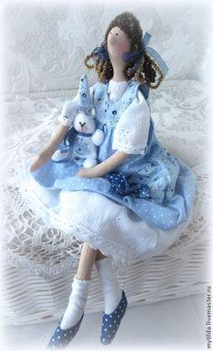 Тильда Дашенька - голубой,горошек,зайка,ярмарка мастеров,кукла ручной работы