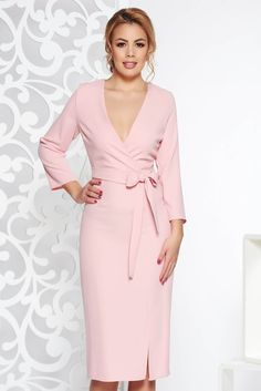 """StarShinerS rosa elegant dress with v-neckline nonelastic fabric accessorized with tied waistband, accessorized with tied waistband, tented cut, """"V"""" cleavage, without clothing, 3/4 sleeves, nonelastic fabric, deep cleavage"""