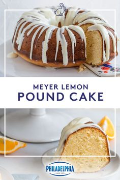 Downright delicious and easy to make, this Meyer Lemon Pound Cake is always a crowd pleaser. Soft on the inside, golden on the outside and a cream cheese drizzle, this simple dessert is full of flavor and is a yummy treat after any Eas Lemon Desserts, Lemon Recipes, Köstliche Desserts, Baking Recipes, Dessert Recipes, Spinach Recipes, Pudding Recipes, Cauliflower Recipes, Pizza Recipes