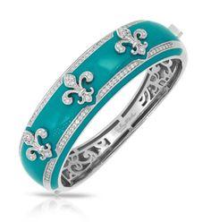 Belle Etoile Fleur De Lis Teal Bangle NWT Size M in Diamond   eBay