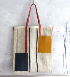Tote bag Mondriaan made from an antique European grain sack in ecru and blue stripes, red, yellow, blue accents SUMMER SALE Hemp Fabric, Fabric Bags, Sacs Design, Stoff Design, Diy Sac, Cow Leather, Yellow Leather, Handmade Bags, Gift Guide