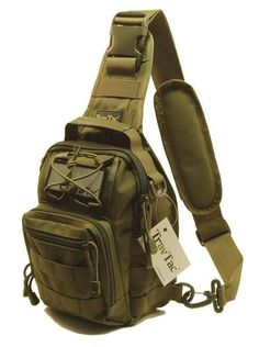 TravTac Stage II Sling Bag, Premium Small EDC Tactical Sling Pack 900D – Army Green - TravTac.com