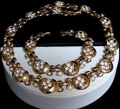 Vintage Pave Set Rhinestone Vining Flowers Leaves Link Necklace and Bracelet Set #UnsignedBeauty