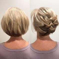 Newest Short Hair Updo Hairstyle Ideas - frisuren Up Hairstyles, Hairstyle Ideas, Bob Updo Hairstyles, Popular Hairstyles, Natural Hairstyles, Hair Lengths, Hair Inspiration, Curly Hair Styles, Short Hair Braid Styles