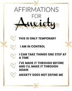 Your anxiety does not define you. It does not control you. When you start to feel overwhelmed, take a moment to breathe deeply and tell…