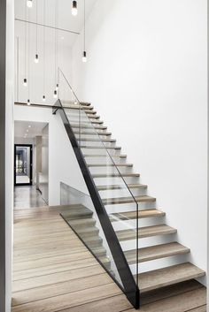 Modern Staircase Design Ideas - Modern stairs are available in several styles and designs that can be genuine eye-catcher in the different location. We've put together best 10 modern models of staircases that can give. Staircase Design Modern, New Staircase, Home Stairs Design, Floating Staircase, Modern Stairs, Modern House Design, Staircase Ideas, Stair Design, Staircase Remodel