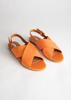 c90affbd476c Criss Cross Slingback Sandals - Orange - Flat sandals -   Other Stories
