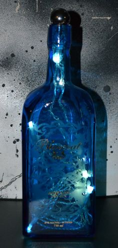 cobalt blue glass light bottle by debeoriginals on Etsy, $20.00