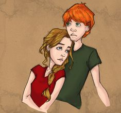 This is the first drawing i made of my Ron - Hermione moments from the Harry Potter books and movies. Ron Weasley and Hermione Granger belong to JK Rowling