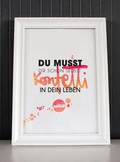 """Typodruck """"Du musst dir schon selbst Konfetti in dein Leben pusten"""" // typo print by Formart via DaWanda.com"""