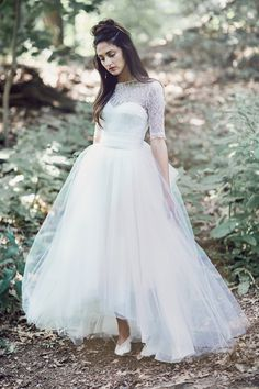 The Berthe bodice paired with our Adele tulle skirt