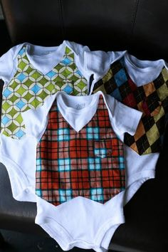 cute baby boy vest onesies!! @Jessica Blamires Dice i Can see your Little guy rocking some onesies like this.