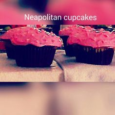Neapolitan cupcakes-Vanilla and chocolate cupcakes with pink vanilla frosting. Moist and delicious cupcakes!