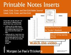 Fieldnotes / Pocket Notes and Bullet Journal inserts,  Lined, Grid, Cross- and Dot-Grid