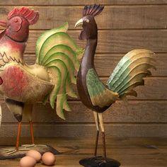 casafina barnyard metal rooster. Love the skinny one