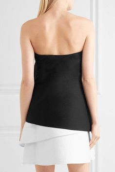 Halston Heritage - Strapless Layered Cotton-blend Faille Mini Dress - Black - US