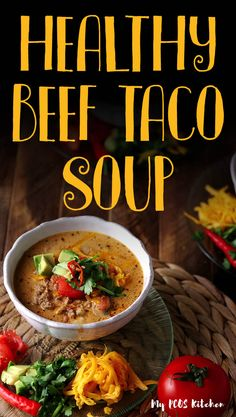 Low Carb Keto Taco Soup Recipe – My PCOS Kitchen This healthy beef taco soup is the ultimate cheesy taco soup recipe! It can be made in the crockpot, instant pot or stove top. It's easy, delicious and simply the best taco soup recipe ever! Low Carb Tacos, Low Carb Taco Soup, Keto Taco, Low Carb Keto, Low Carb Recipes, Soup Recipes, Cooking Recipes, Healthy Recipes, Dinner Recipes