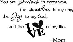 You are precious in every way, the sunshine in my day, the joy in my soul, and the love of my life. Mom cute baby nursery inspirational wall art sayings Epic Designs You Are Precious, Precious Moments, Wall Stickers Murals, Nursery Wall Decals, Thing 1, Sharing Quotes, Inspirational Wall Art, Baby Quotes, Vinyl Lettering